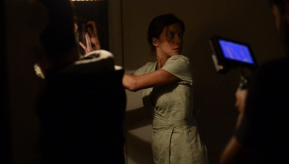 Natalia Tena en el rodaje de 'Refugiados'