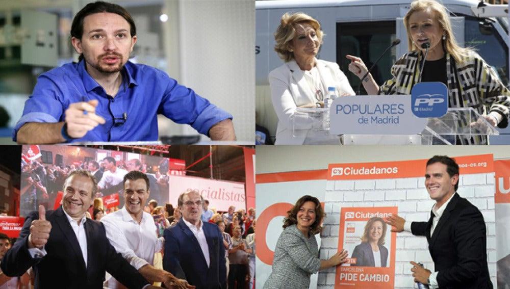 Podemos, PP, PSOE y Ciudadanos en el inicio de campaña