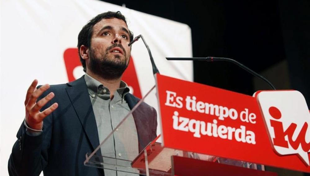 Alberto Garzón en un acto en Asturias