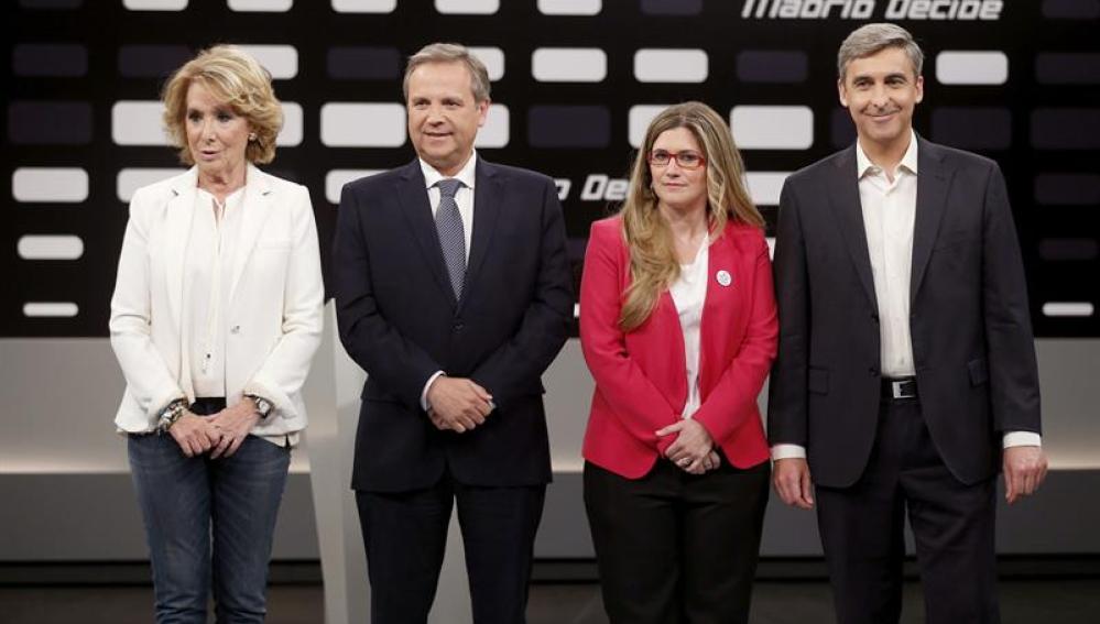Aguirre, Carmona, Raquel López y David Ortega en Telemadrid