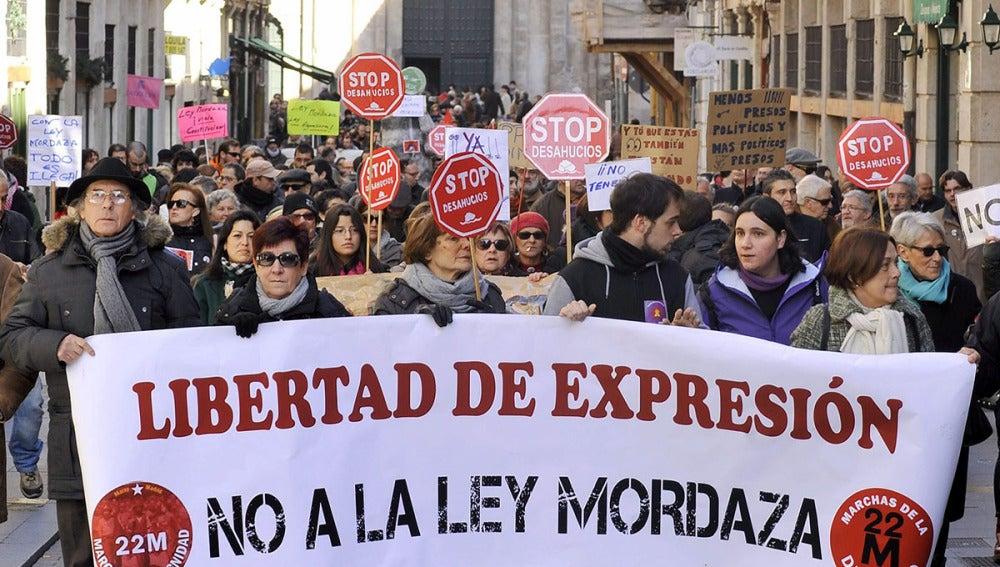 Manifestación en Valladolid en contra de la Ley de Seguridad Ciudadana,
