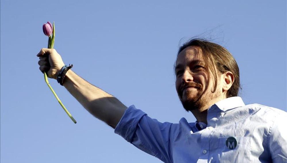 El líder de Podemos, Pablo Iglesias, en el mitin de cierre de campaña