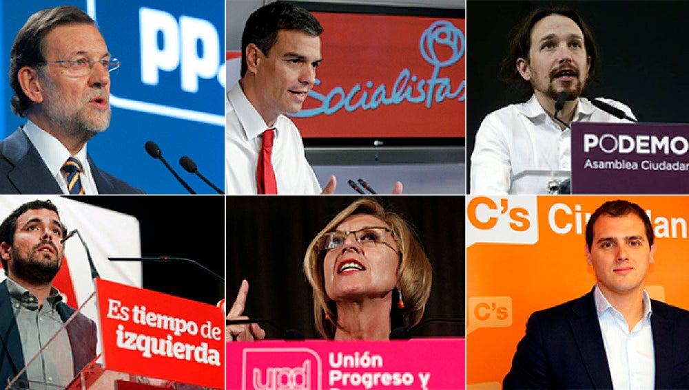 Líderes políticos de los principales partidos españoles
