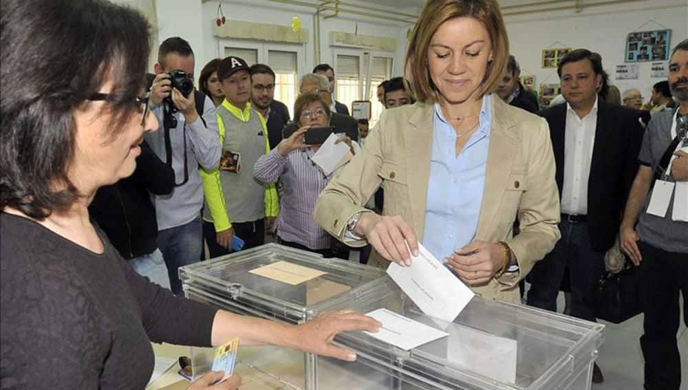 La candidata del PP a revalidar la Presidencia de Castilla-La Mancha, María Dolores de Cospedal