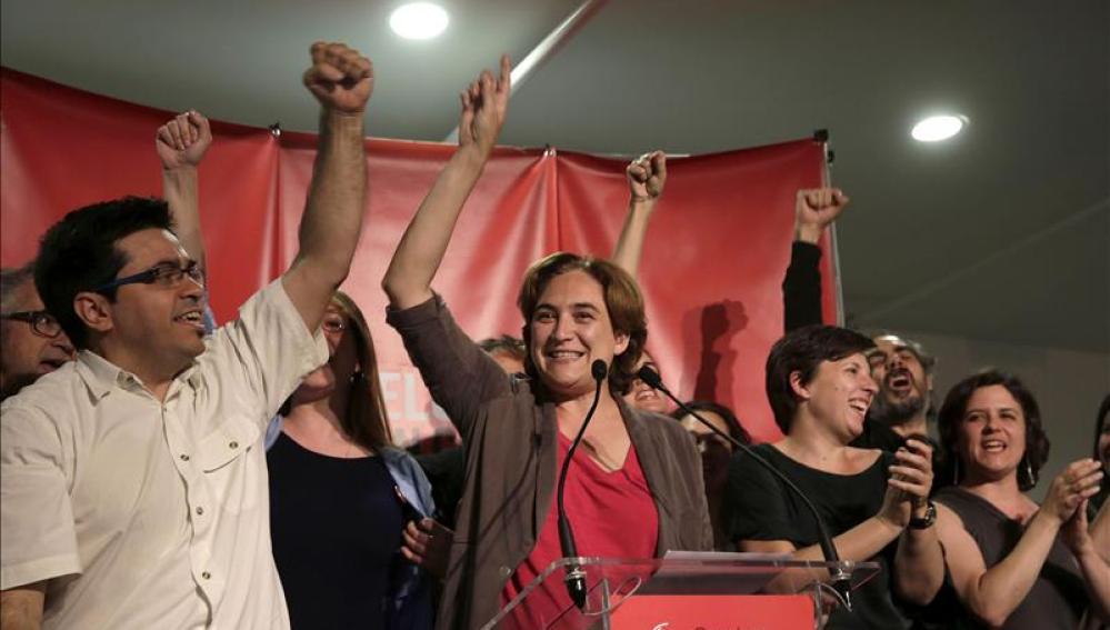 Ada Colau celebra su victoria electoral en Barcelona