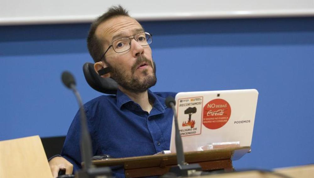 Pablo Echenique en rueda de prensa en Zaragoza