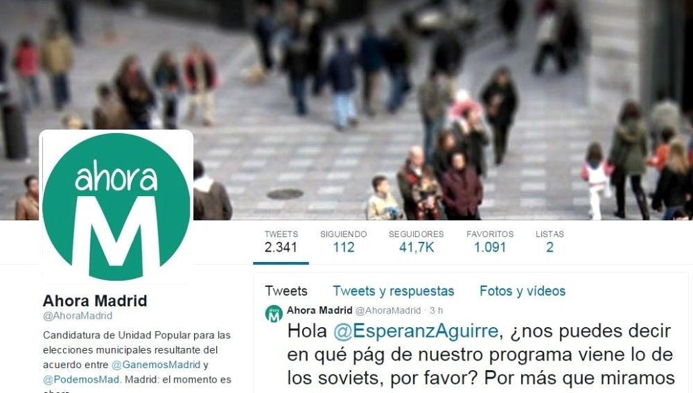 Twitter de Ahora Madrid