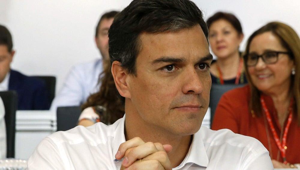 El secretario general del PSOE, Pedro Sánchez, durante la reunión del Comité Federal
