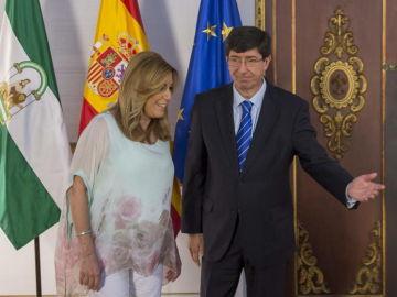 Susana Díaz y Juan Marín antes de reunirse