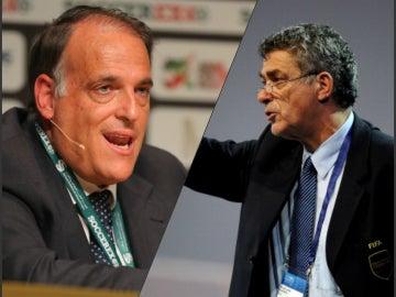 Javier Tebas y Ángel María Villar, enfrentados