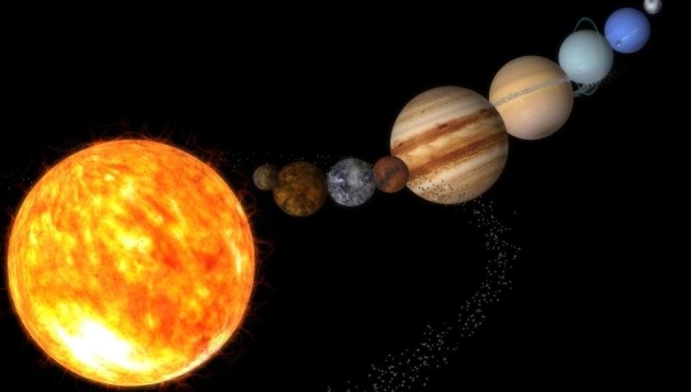 El planeta sol en el sistema solar.