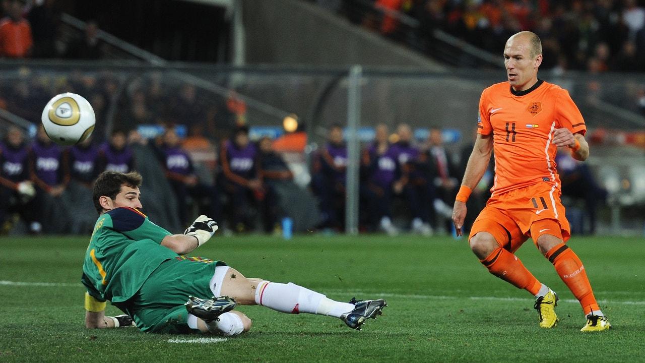 La famosa parada de Casillas a Robben en la final del Mundial de Sudáfrica.