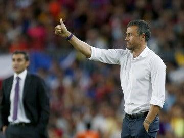 El entrenador del FC Barcelona, Luis Enrique, y el del Athletic Club, Ernesto Valverde