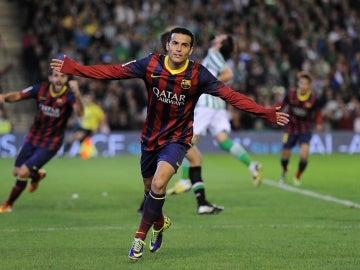 Pedro celebra un gol con el FC Barcelona