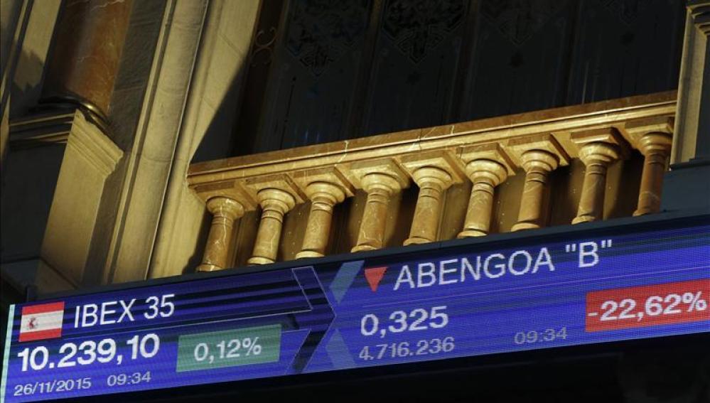 Monitor informativo en la bolsa de Madrid