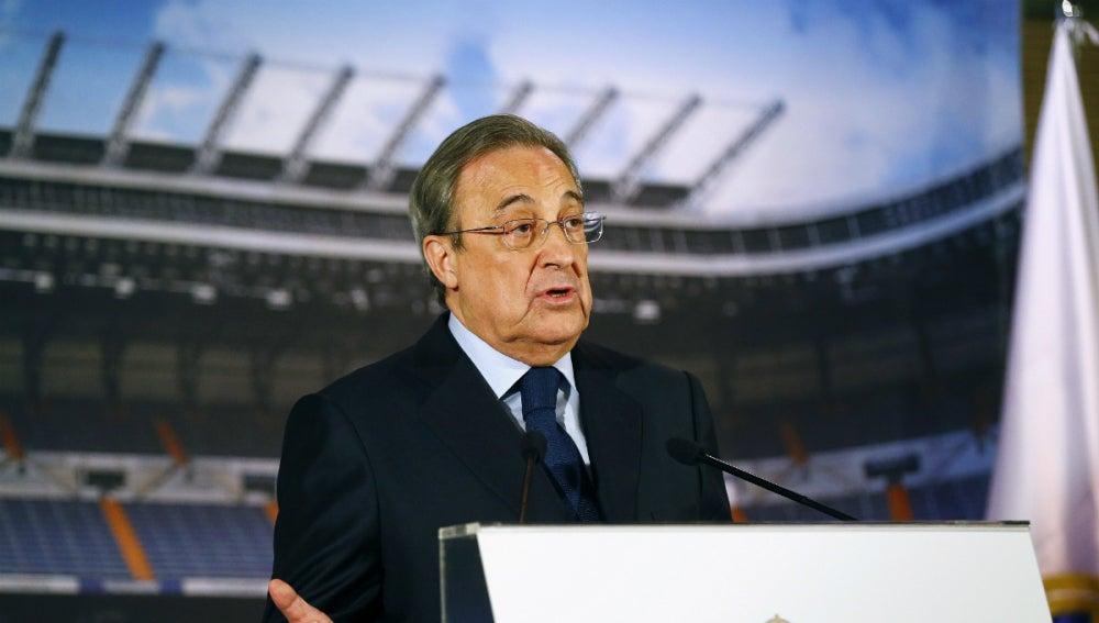 Florentino Pérez, durante la comparecencia de prensa