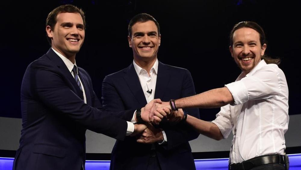 Rivera, Sánchez e Iglesias
