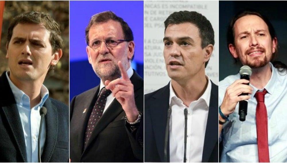 Rivera, Rajoy, Sánchez e Iglesias