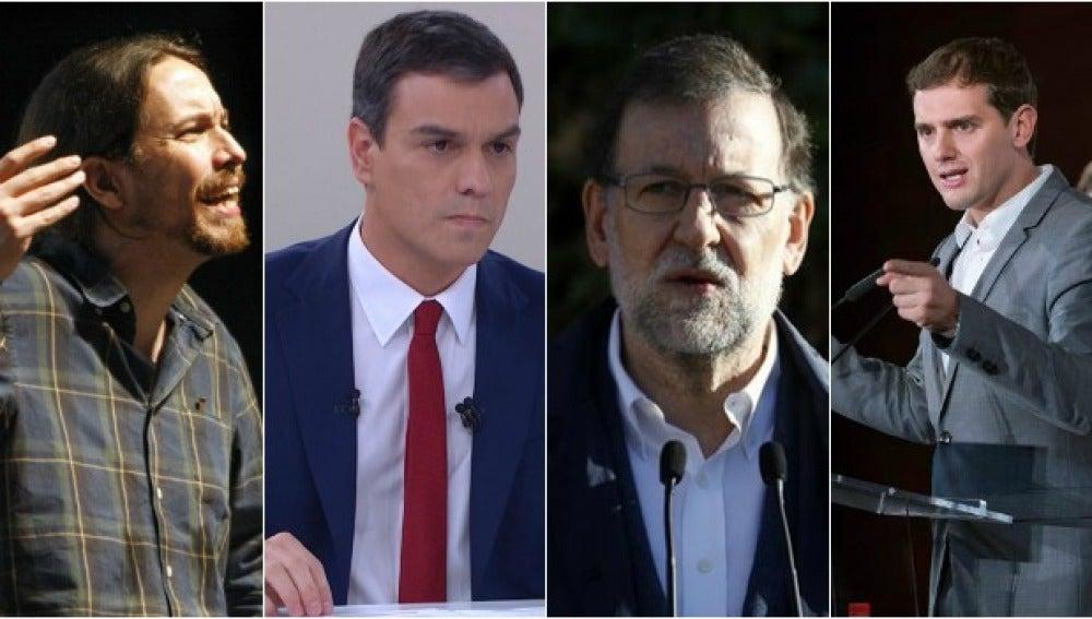 Iglesias, Sánchez, Rajoy, Rivera