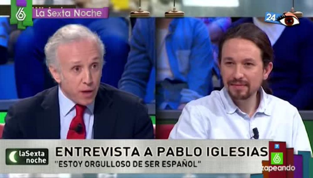 El pestañeo de Pablo Iglesias escuchando a Eduardo Inda