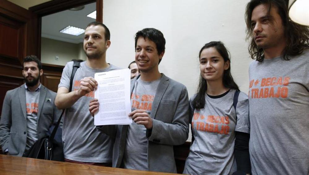 Los diputados del grupo parlamentario de Podemos-En Comú-En Marea