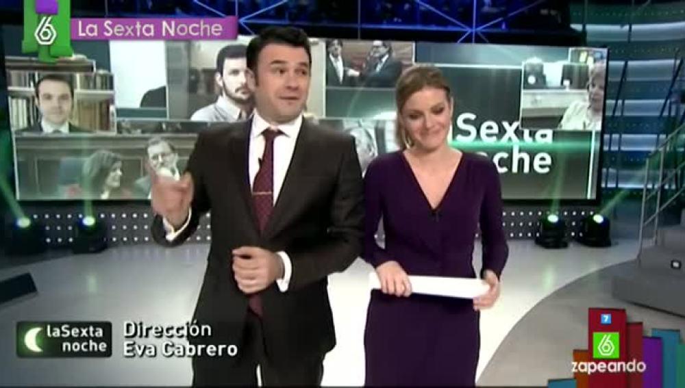 Iñaki López y Andrea Ropero, en laSexta Noche