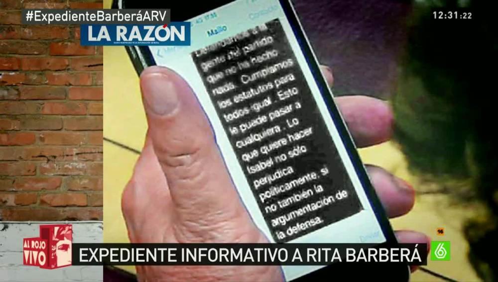El mensaje de Rita Barberá a Martínez Maíllo