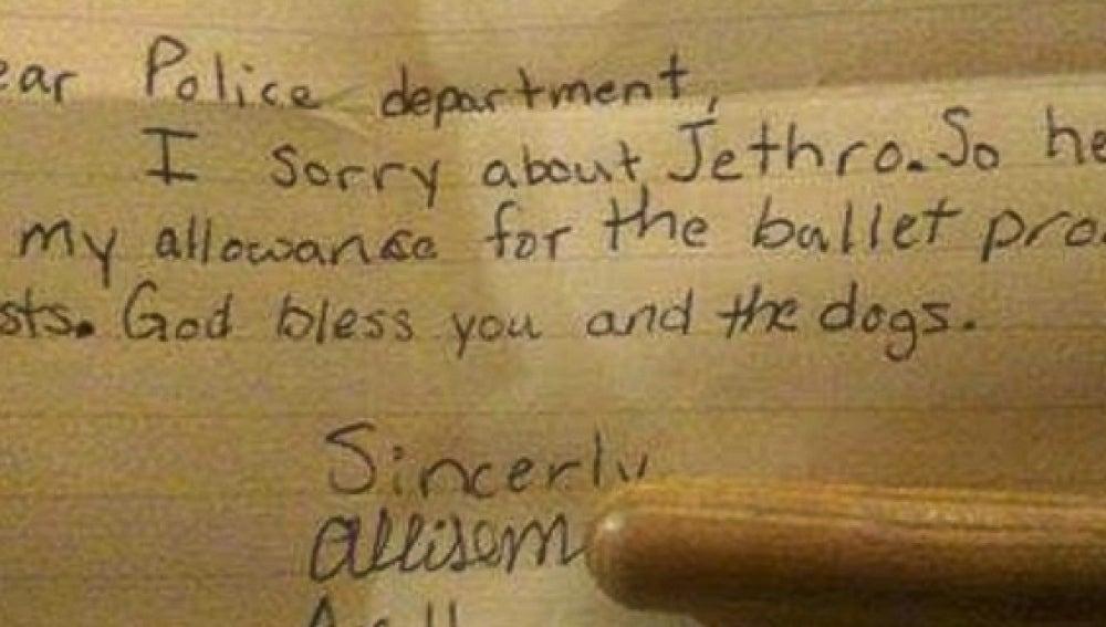 Imagen de la carta que ha enviado la niña