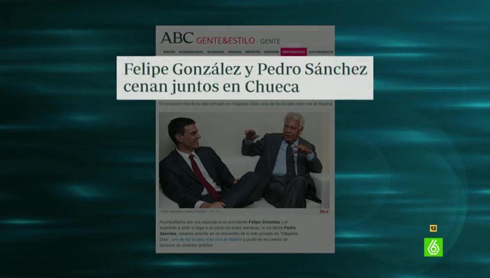 Pedro Sánchez y Felipe González cenan juntos en Chueca