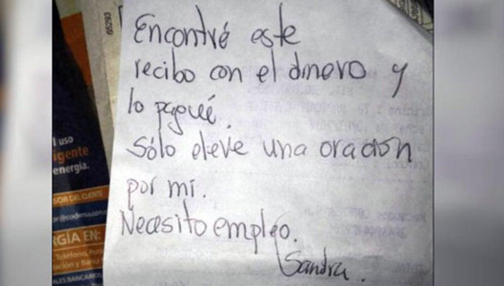 Mensaje de la mujer que encontró el recibo y el dinero