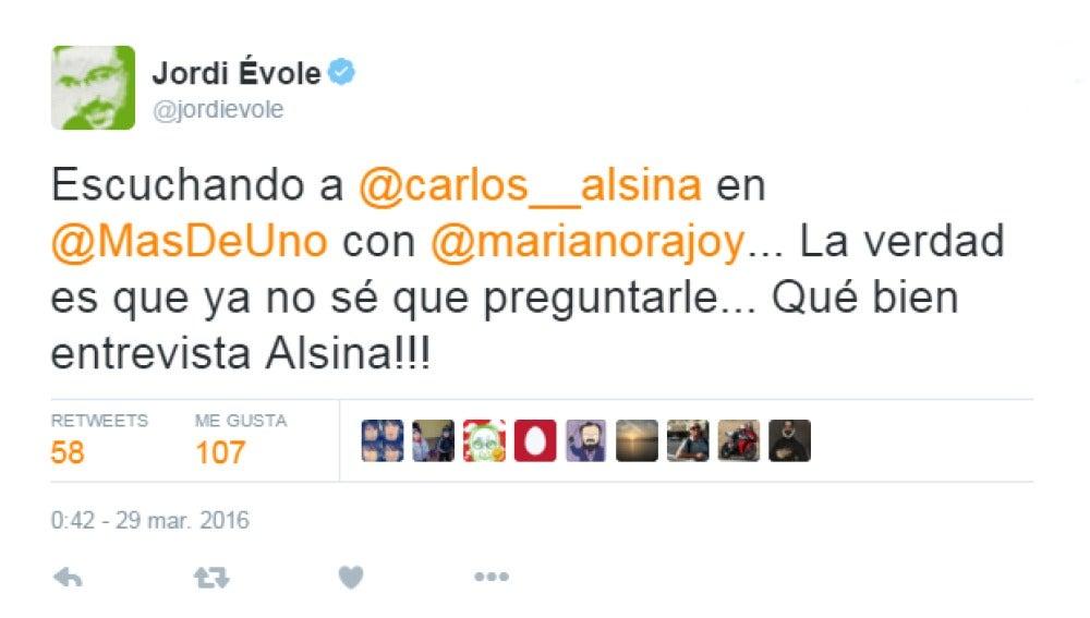 Tuit de Jordi Évole