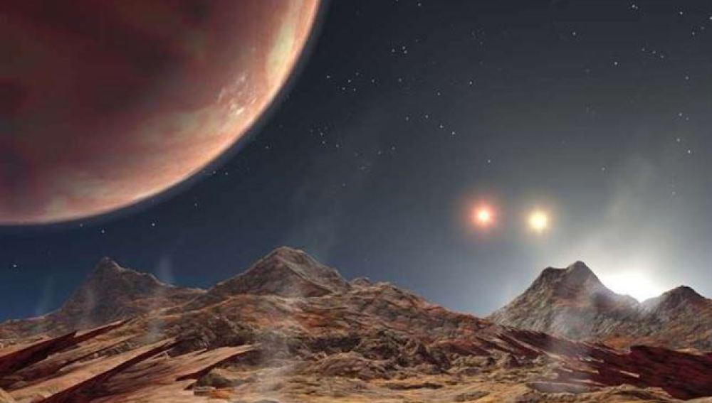 Simulación de un planeta con tres estrellas