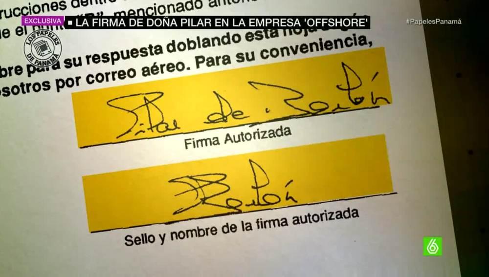 La firma de Pilar de Borbón