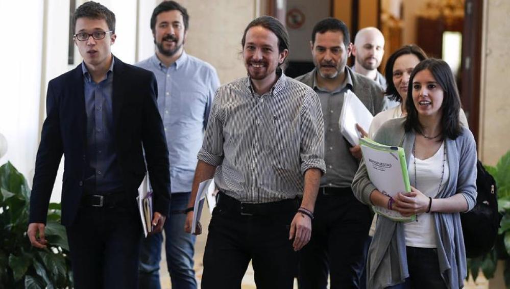El equipo negociador de Podemos, capitaneado por Pablo Iglesias