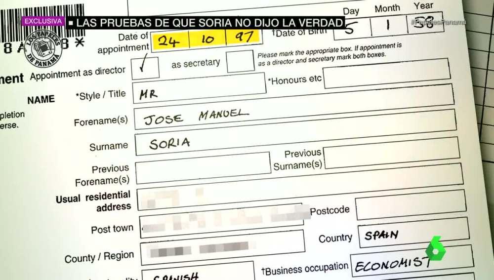 Documento de José Manuel Soria en Mossack Fonseca