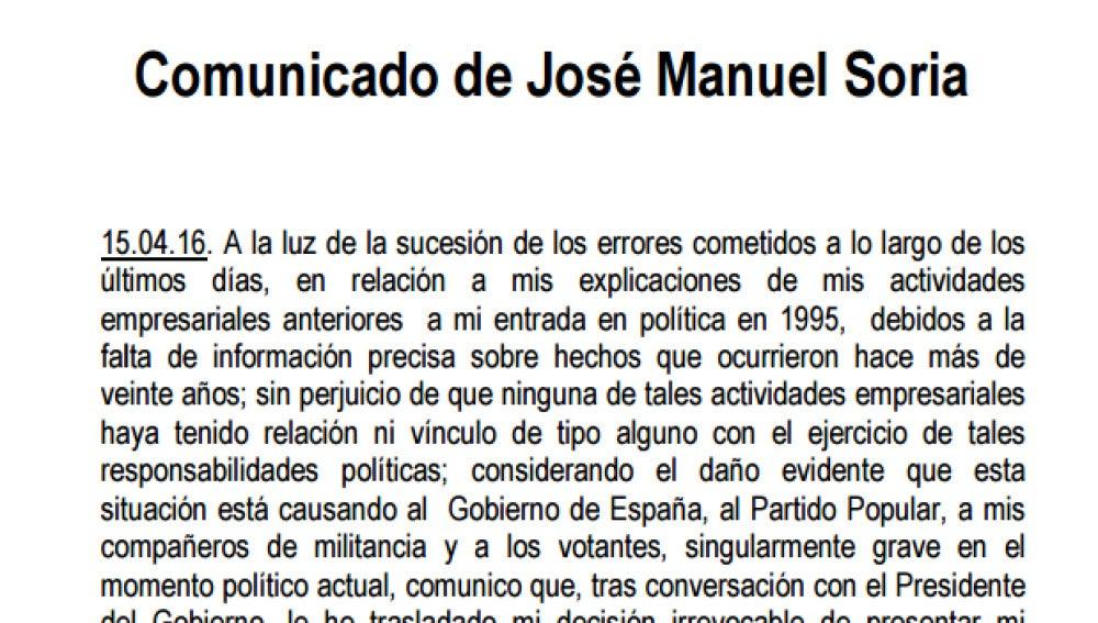 Comunicado de Soria