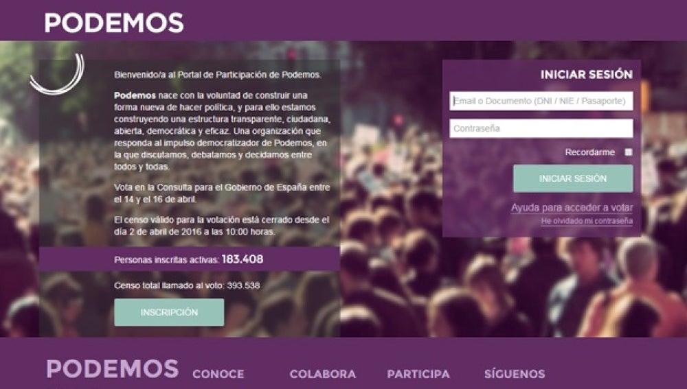 Imagen del Portal de Participación de Podemos