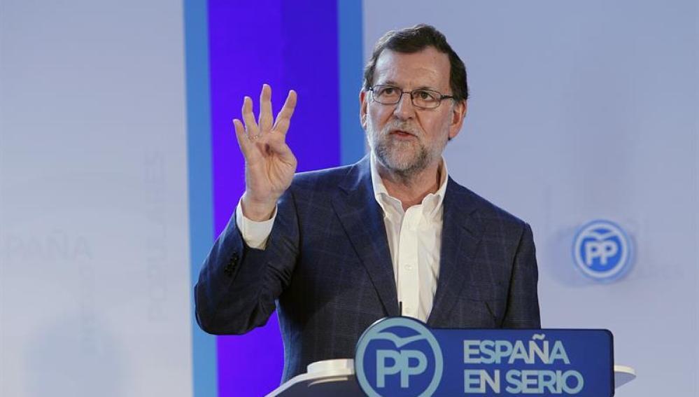 Mariano Rajoy, en un acto del PP