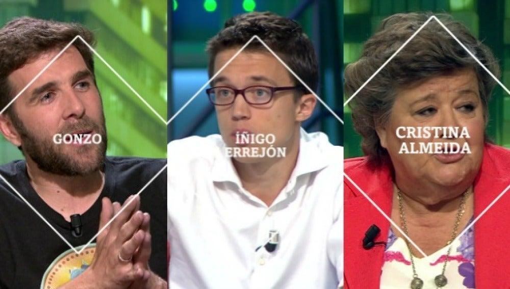 Gonzo, Íñigo Errejón y Cristina Almeida, en laSexta Noche