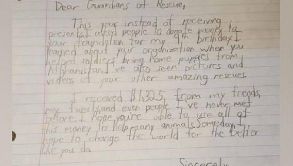 Imagen de la carta de Mateo a la organización de rescate animal