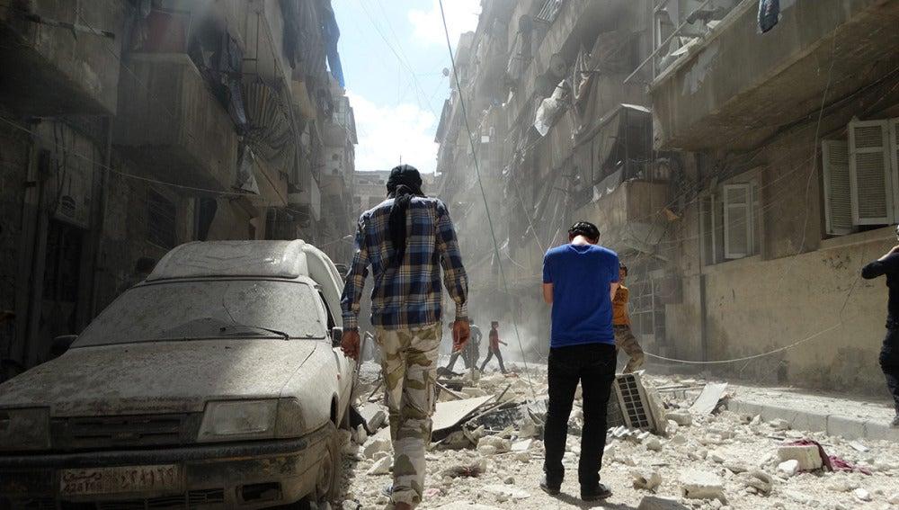 Zona del ataque en Alepo