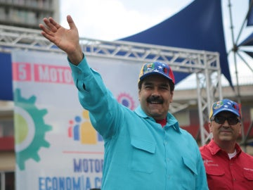 Nicolás Maduro tras informar de unos supuestos planes de intervención planeados en el extranjero.