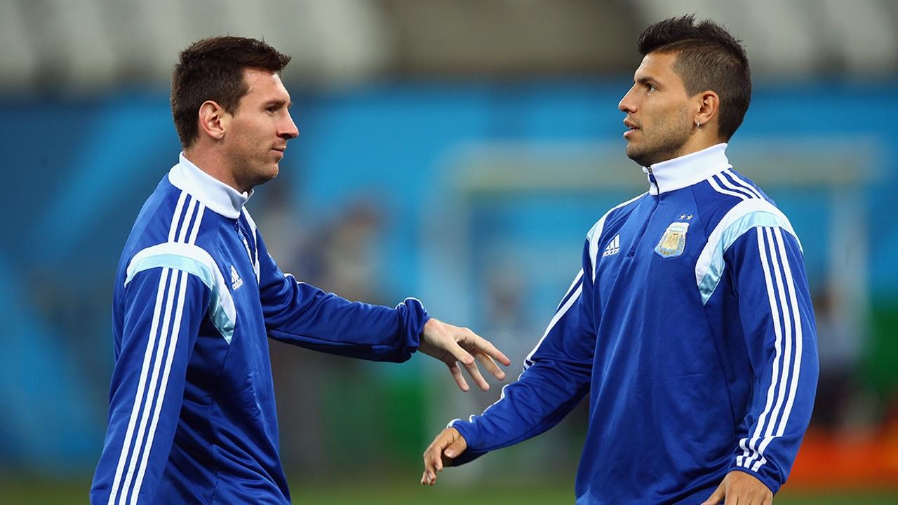 Lionel Messi y Sergio Agüero en el entrenamiento de la 'albiceleste'