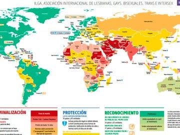 Mapa de los derechos homosexuales en el mundo