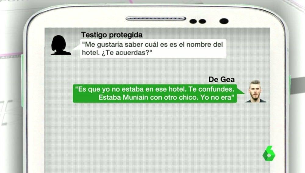 Frame 35.80053 de: Salen a la luz los Whatsapp entre la testigo protegida del 'caso Torbe' con los futbolistas De Gea y Muniain