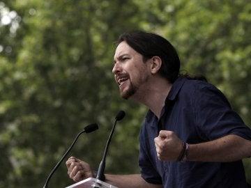 El candidato de Unidos Podemos, Pablo Iglesias, durante un mitin en Barcelona