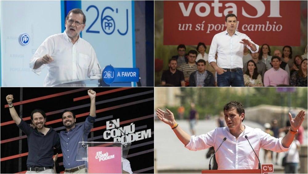 Los candidatos a la presidencia de PP, PSOE, Unidos Podemos y C's