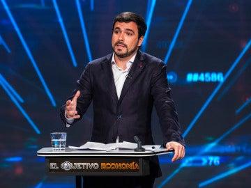 Alberto Garzón en el plató de 'El Objetivo Economía'