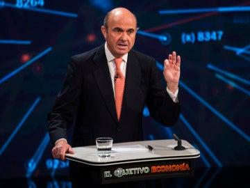 Luis De Guindos en el plató de 'El Objetivo Economía'