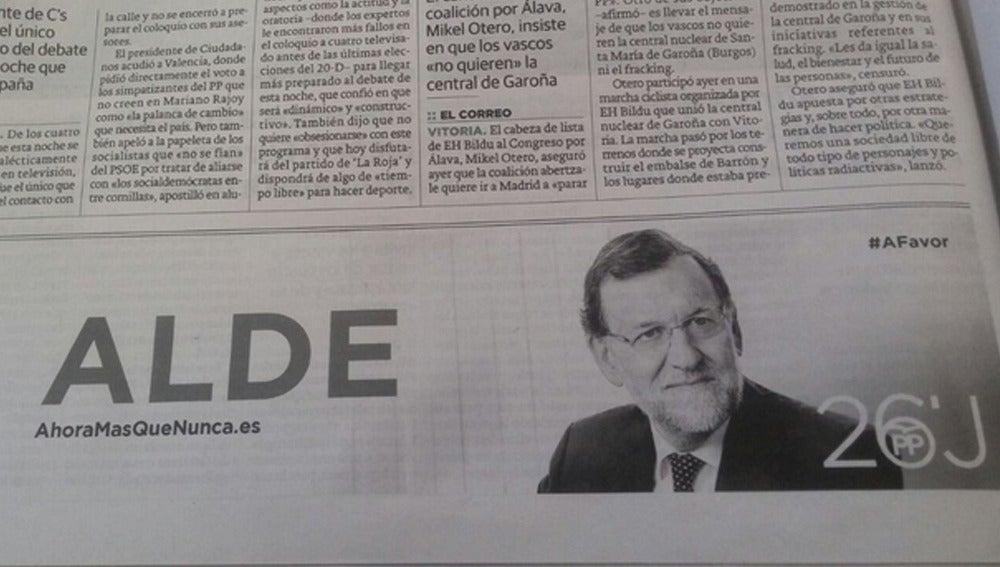 Error en la publicidad del PP en Euskadi